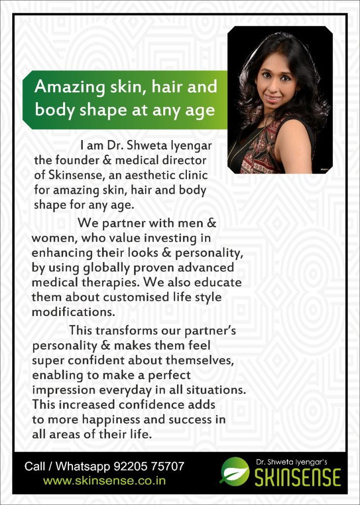 "Read the Brief About Dr. Shweta Iyengar and Know about the journey of her Venture ""Skinsense"""